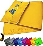Fit-Flip 3-TLG Fitness-Handtuch Set mit Reißverschluss Fach + Magnetclip + extra Sporthandtuch  ...