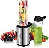 Mixer Smoothie Maker, Mini Standmixer mit 2X 600ml BPA Freie Flasche, Mixer für Shake, Smoothie,...
