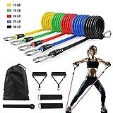 GOAMZ 11 Pack Fitnessband Set Resistance Bands mit 5 Widerstandsbänder Set/Gymnastikband, 2 Griffe,...