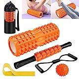 Faszienrolle, KilYn 6 in 1 Foam Roller Faszienrolle Sets mit Massageroller Stab, Widerstandsbänder...
