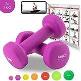 POWRX Neopren Hanteln Gewichte für Gymnastik Kurzhanteln 0,5 kg - 5 kg oder Set komplett (2 x 1 kg)