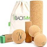 BACKLAxx® Faszienrolle Set aus Kork - Faszienball, Korkrolle groß & klein, Duoball für Faszien,...